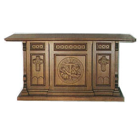Altare legno stile gotico 200x89x98 Stemma Francescano s1