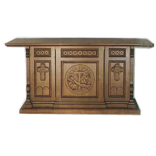 Altare legno stile gotico 200x89x98 Stemma Francescano 1