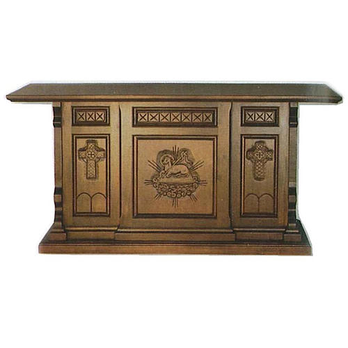 Altar in wood, Gothic style, 200x89x98cm, Sacrificial Lamb 1