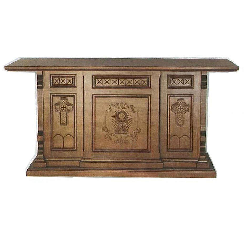 Altare legno stile gotico 200x89x98 immagine Calice IHS 4