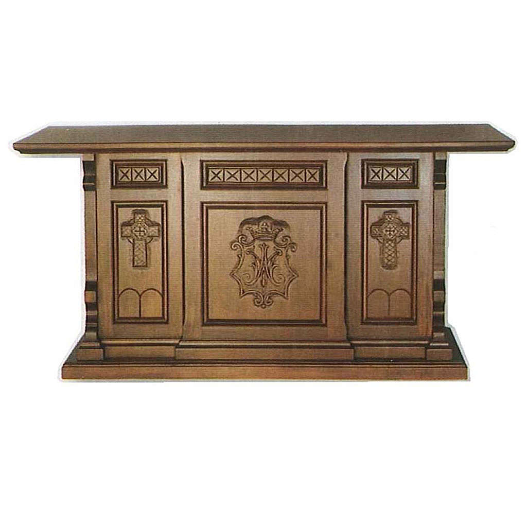 Altar in wood, Gothic style, 200x89x98cm with Marian symbol 4