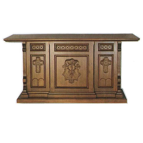 Altar in wood, Gothic style, 200x89x98cm with Marian symbol 1