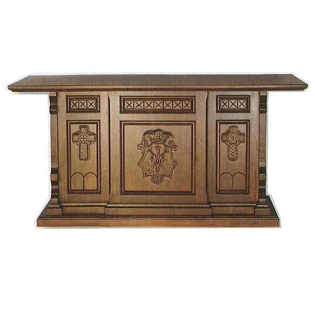 Ołtarz drewno styl gotycki 200x89x98 symbol Maryjny 4