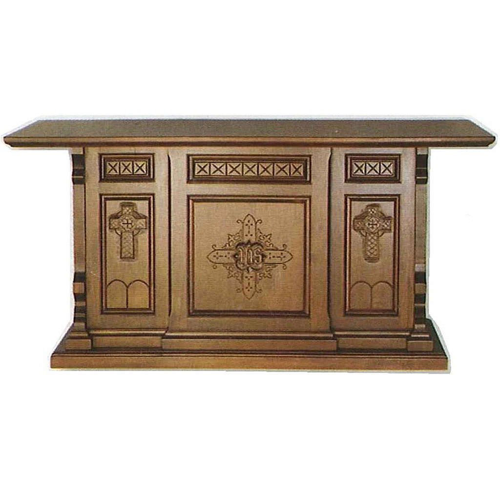 Altar in wood, Gothic style, 200x89x98cm with IHS and cross symb 4