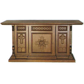 Altar in wood, Gothic style, 200x89x98cm with IHS and cross symb s1