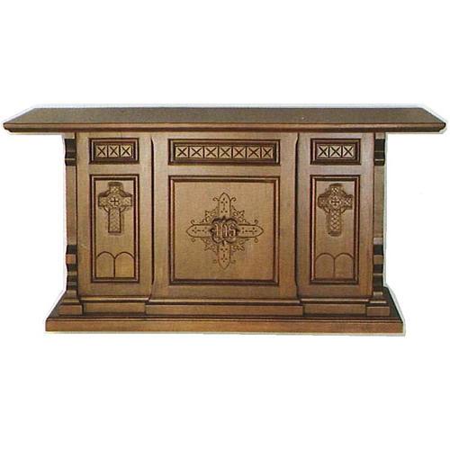 Autel bois style gotique 200x89x98 symboles croix IHS 1