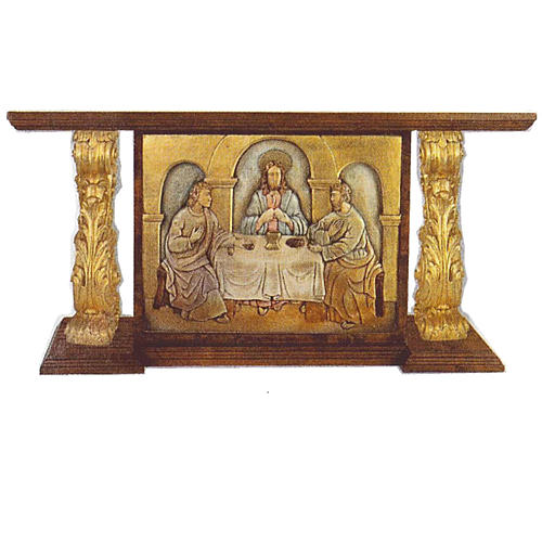 Autel en bois taillé main feuille d'or 180x80x90 cm 1