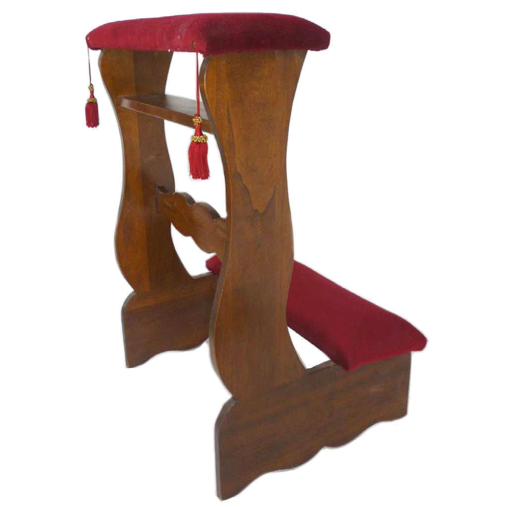 Reclinatorio individual para novios de madera acabado nogal 85x55x50 cm 4