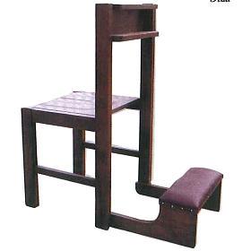 Chaise avec Prie-Dieu pliable en bois 87x40x35 cm s1