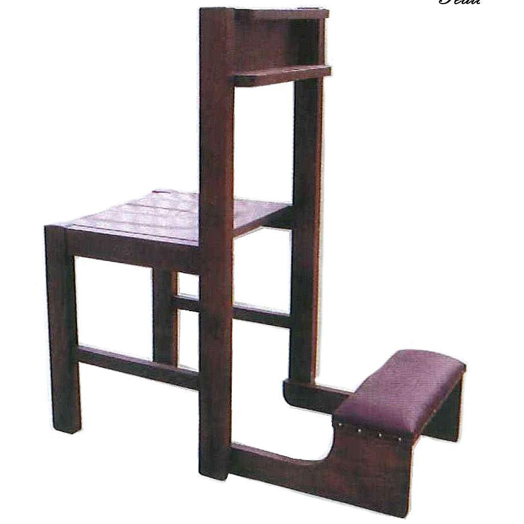 Sedia con inginocchiatoio in legno richiudibile 87x40x35 cm 4