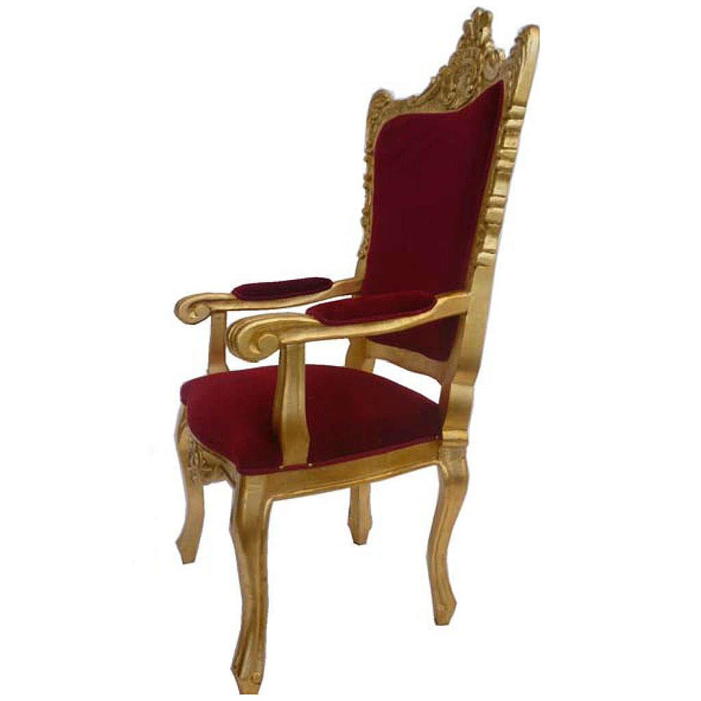 Sillón de estilo barroco de madera entallada acabado con pan de oro h.145 cm 4