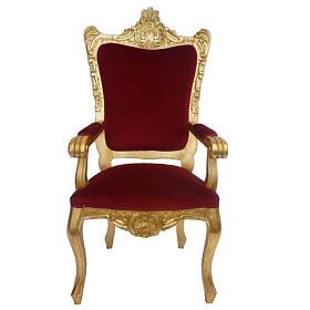 Fauteuil baroque bois entaillé et feuille d'or 145 cm s1
