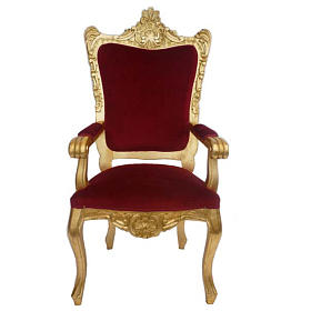 Chair, baroque style in carved wood, gold leaf H145 cm s1