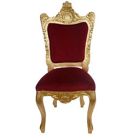 Chair, baroque style in carved wood, gold leaf H130 cm s1