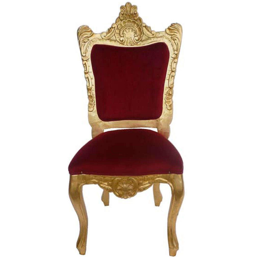 Sedia stile barocco legno intagliato foglia oro h 130 cm 4