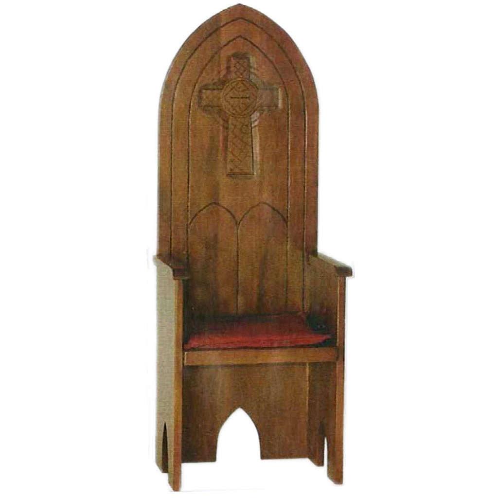 Sillón de madera maciza estilo gótico 160x65x56 cm 4
