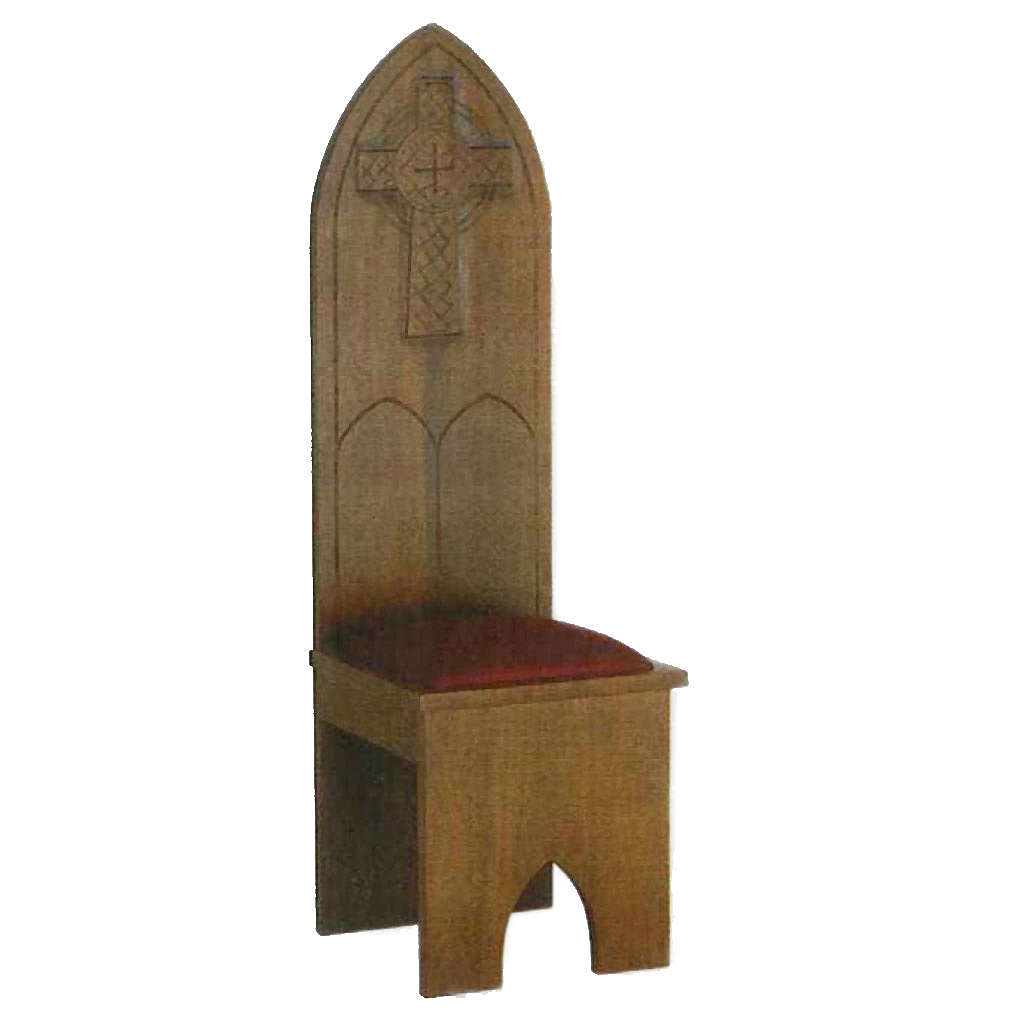 Sedia legno massello stile gotico 150x47x47 cm 4