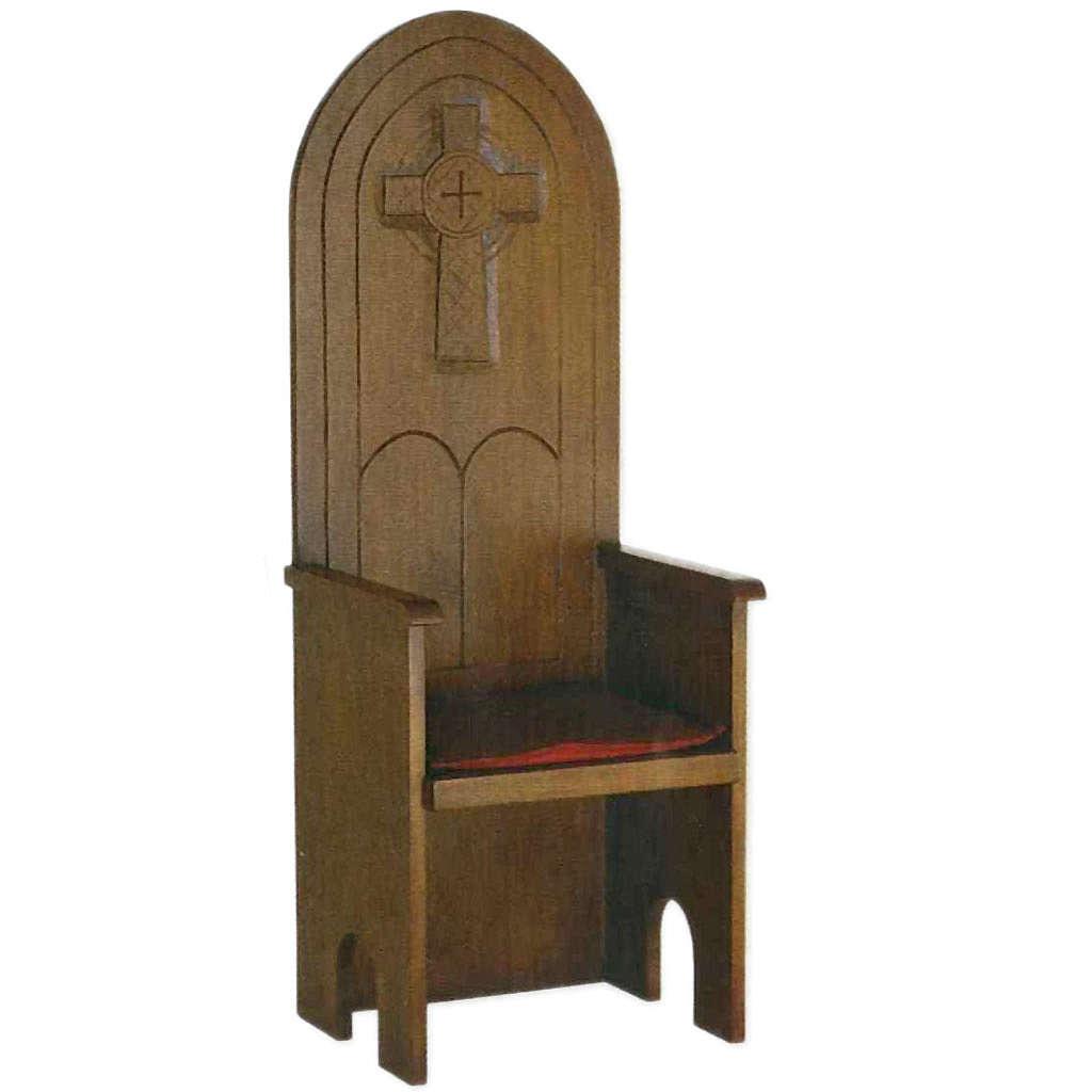 Fotel drewniany styl gotycki 160x65x56 cm 4