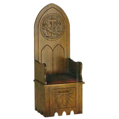 Sillón de madera de estilo gótico 160x65x56 cm escudo franciscano 1