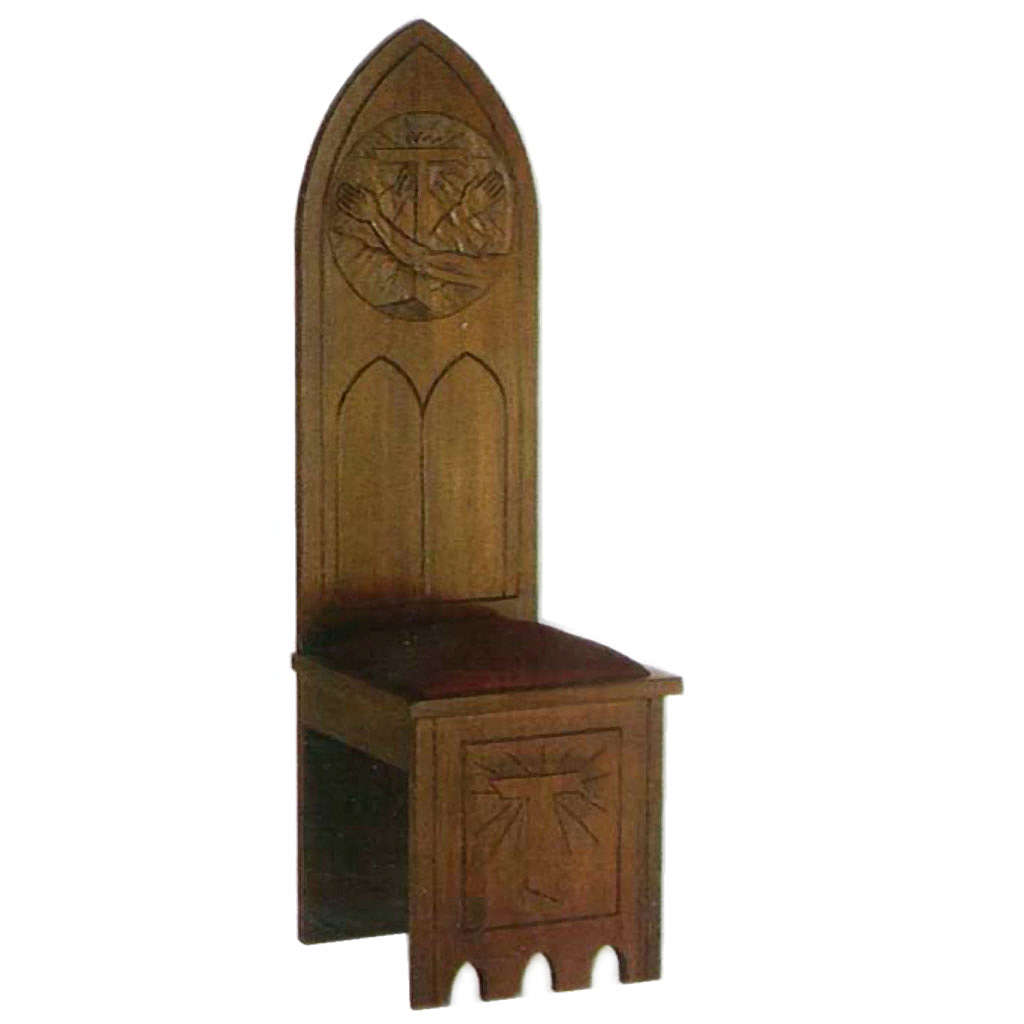 Wooden chair, gothic style 150x47x47 cm, Franciscan symbol 4