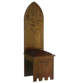 Wooden chair, gothic style 150x47x47 cm, Franciscan symbol s1