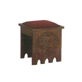 Taburete de estilo gótico 49x49x49 cm escudo franciscano s1