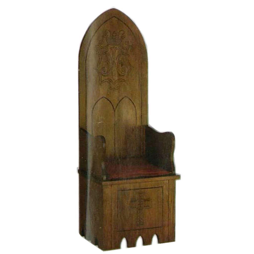 Wooden chair, gothic style 160x65x56 cm Marian symbol 4