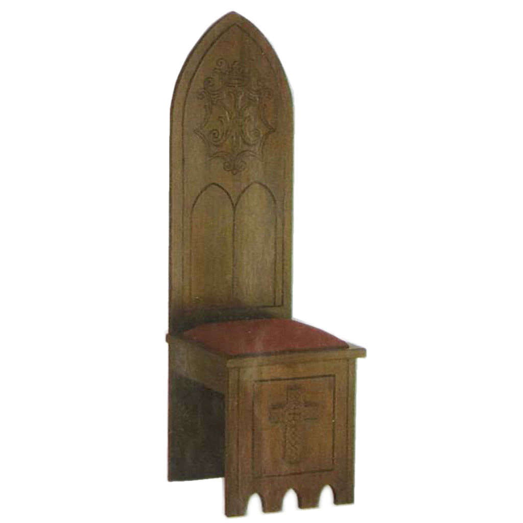 Wooden chair, gothic style 150x47x47 cm, Marian symbol 4