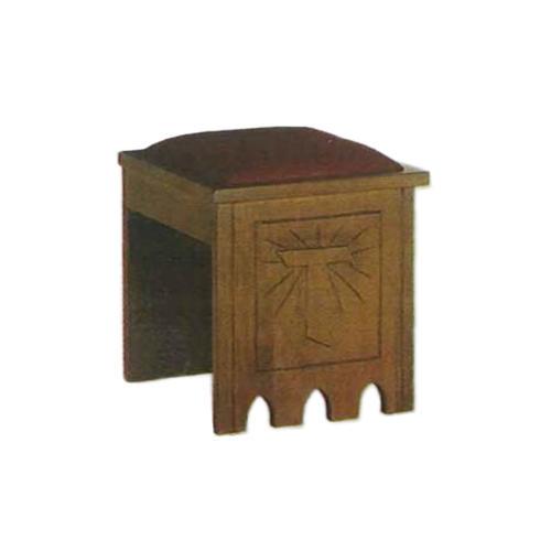 Tabouret style gotique emblème marial 49x49x49 cm 1