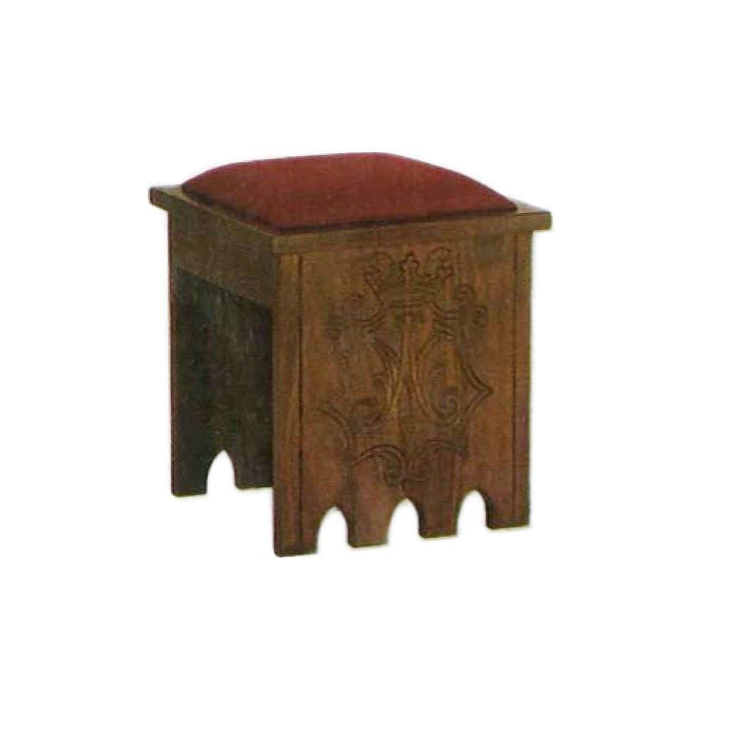 Taburete gótico de madera 49x49x49 escudo Mariano 4