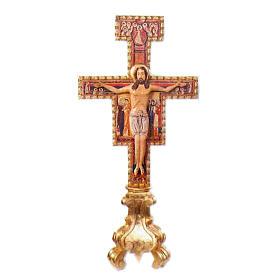 Croix à poser Saint Damien bois sculpté main 75 cm s1