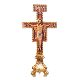 Altar cross Saint Damian in hand carved wood, 75 cm s1