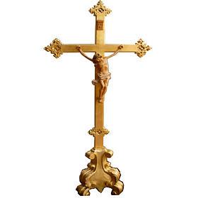 Krzyż na ołtarz drewno nacięte 100x45 cm s1