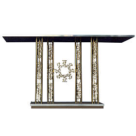 Altar in gold-plated brass and marble base, 90x170x60cm s1