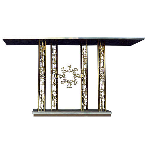 Altar in gold-plated brass and marble base, 90x170x60cm 1