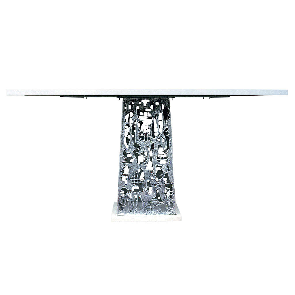 Altar in silver-plated brass and marble base, 92x180x80cm 4