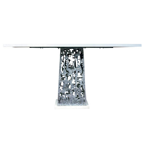 Altar in silver-plated brass and marble base, 92x180x80cm 1