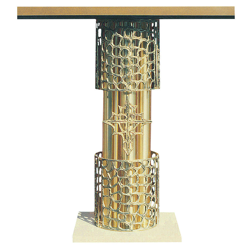 Altar in gold-plated brass and marble base, 92x150x60cm 4