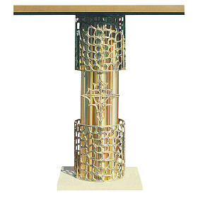 Altar in gold-plated brass and marble base, 92x150x60cm s1