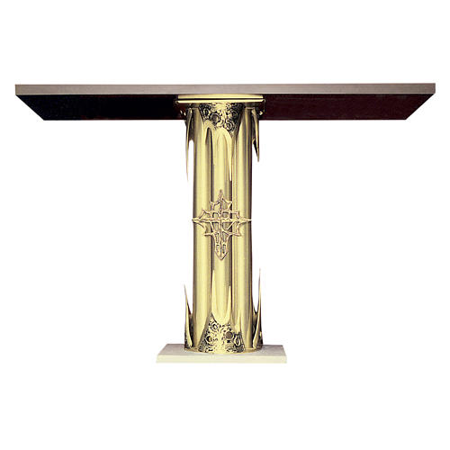 Altar in gold-plated brass and marble base, 95x140x60cm 1