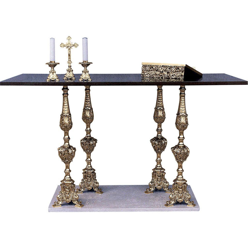Altar 4 columns baroque style, walnut wood desk 95x180x80cm 4