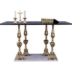 Altar 4 columns baroque style, walnut wood desk 95x180x80cm s1