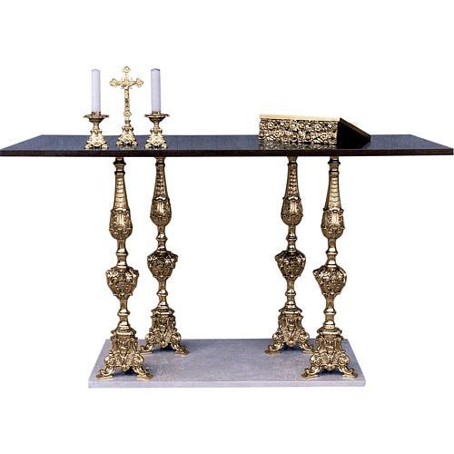 Altar 4 columns baroque style, walnut wood desk 95x180x80cm 1