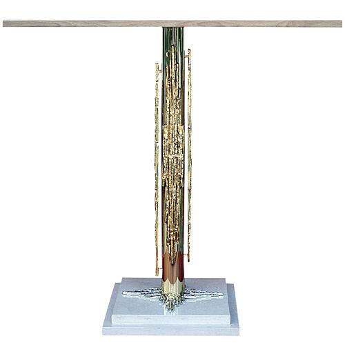 Altar latão moldado e base em mármore 120x60 cm 1