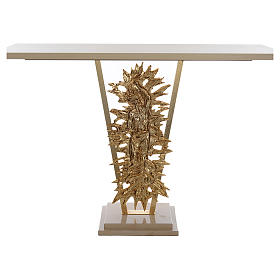 Ambos, kneelers, church furniture: Altar of brass, Risen Christ, base of marble, 102x150x60 cm.