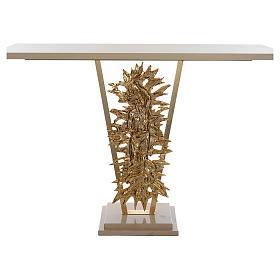 Altar de latón fundido con Cristo Resucitado, base de mármol, 102x150x60 cm s1