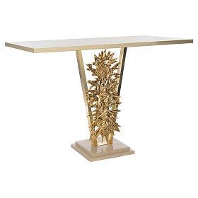Altar de latón fundido con Cristo Resucitado, base de mármol, 102x150x60 cm s3