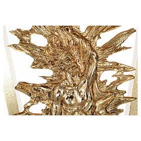 Altar de latón fundido con Cristo Resucitado, base de mármol, 102x150x60 cm s5