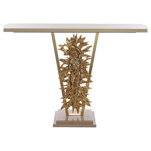 Altar de latón fundido con Cristo Resucitado, base de mármol, 102x150x60 cm 1