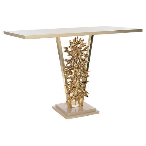 Altar de latón fundido con Cristo Resucitado, base de mármol, 102x150x60 cm 3